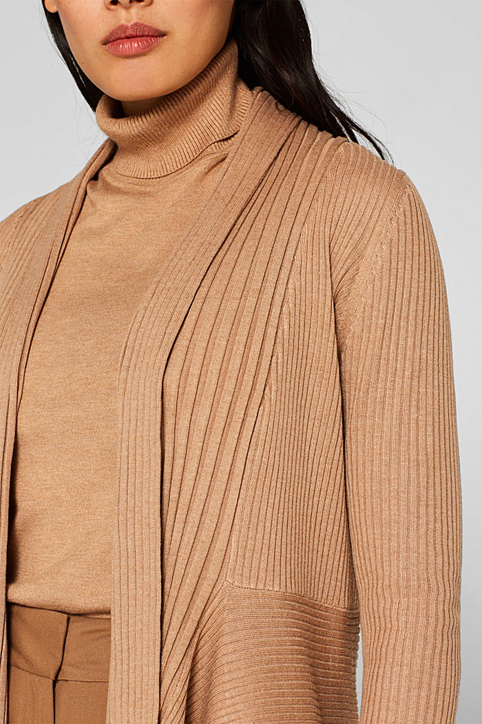 Basic cardigan with a ribbed texture, CAMEL, detail image number 2