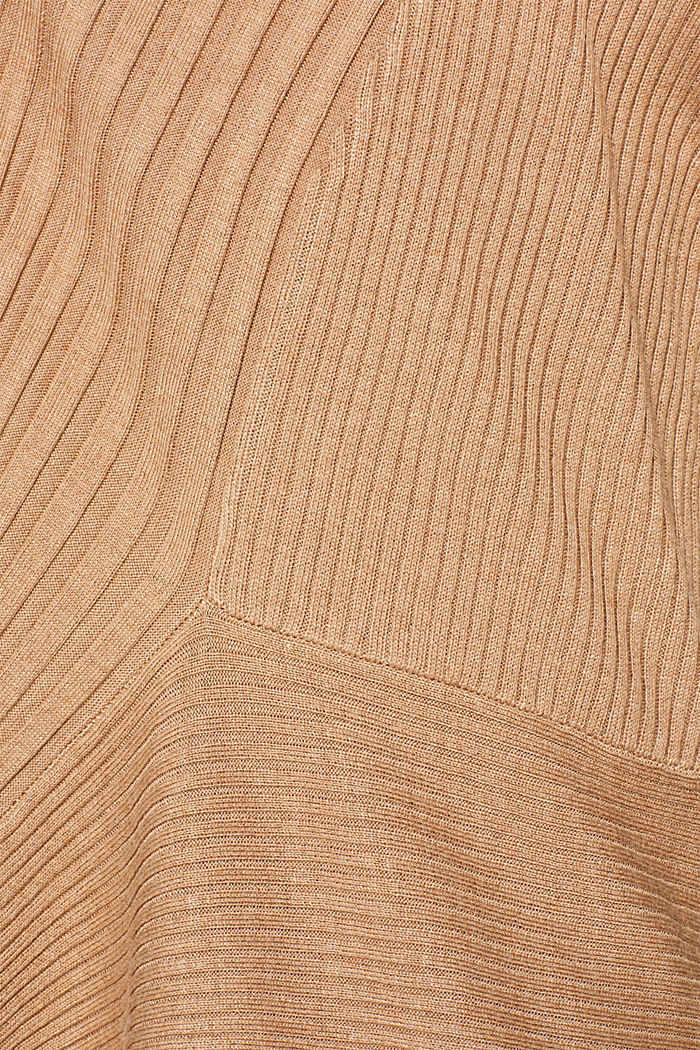 Basic cardigan with a ribbed texture, CAMEL, detail image number 4