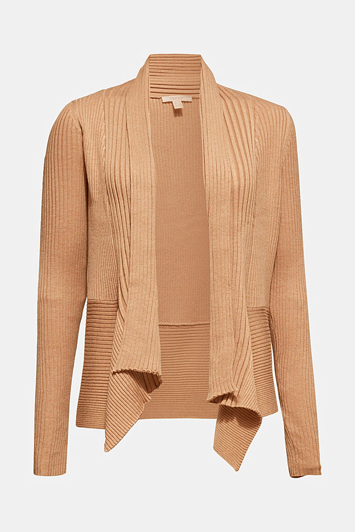 Basic cardigan with a ribbed texture, CAMEL, detail image number 6