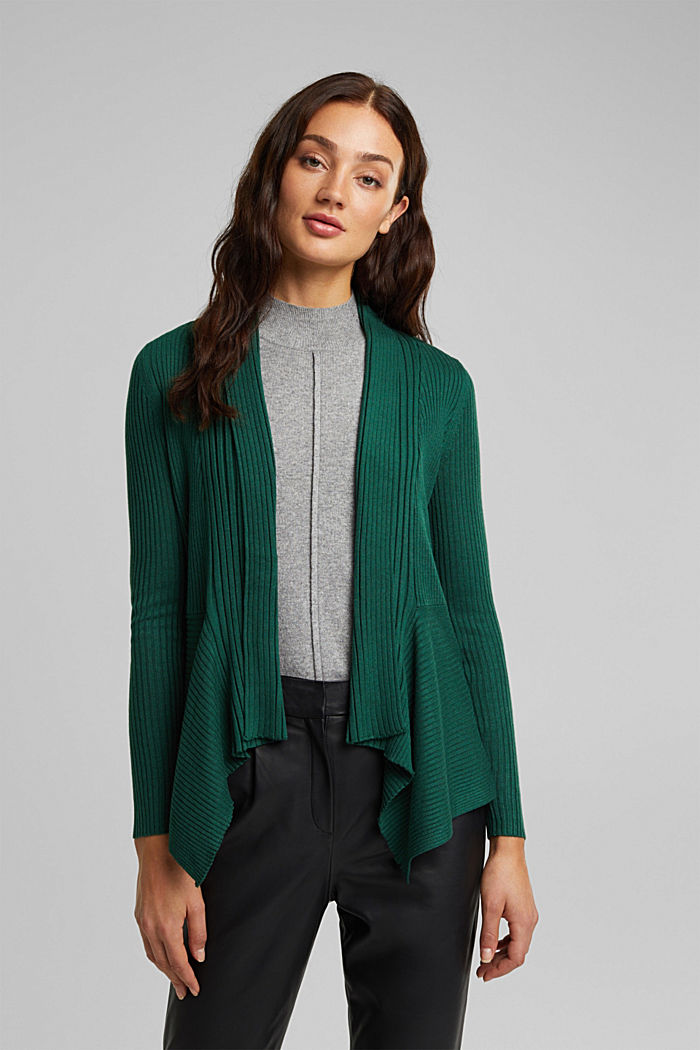 Basic cardigan with a ribbed texture, BOTTLE GREEN, detail image number 0