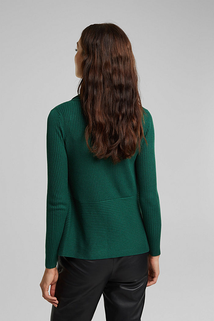 Basic cardigan with a ribbed texture, BOTTLE GREEN, detail image number 3