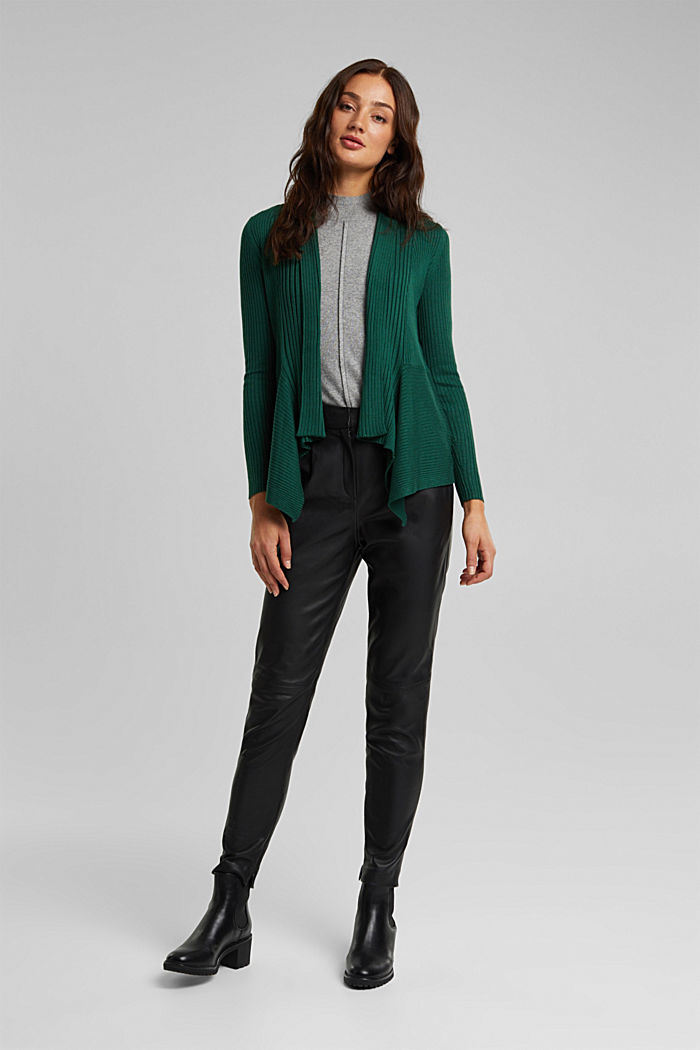 Basic cardigan with a ribbed texture, BOTTLE GREEN, detail image number 1