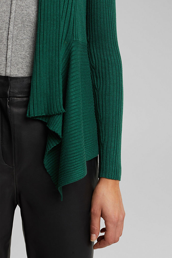 Basic cardigan with a ribbed texture, BOTTLE GREEN, detail image number 2