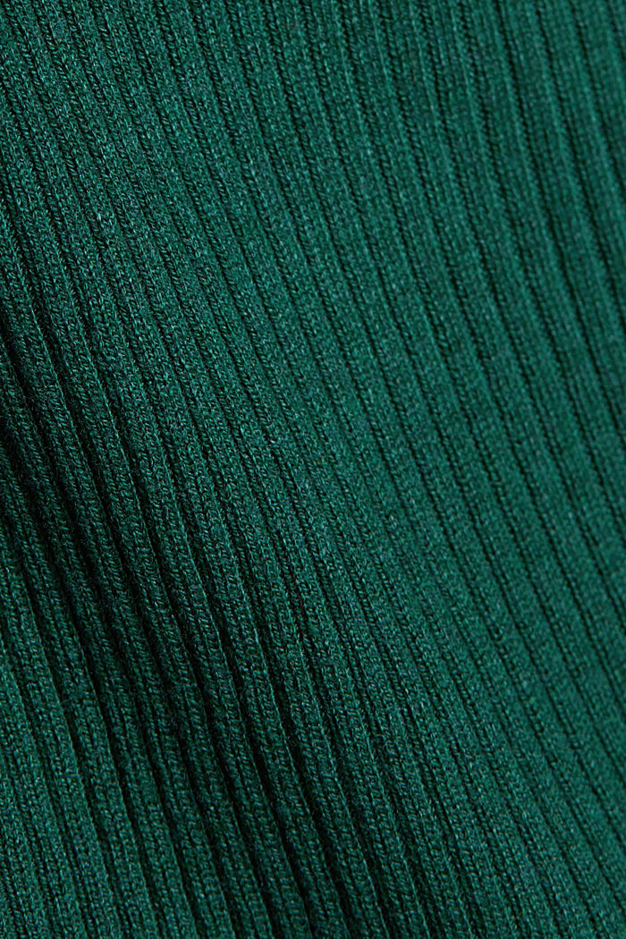 Basic cardigan with a ribbed texture, BOTTLE GREEN, detail image number 4