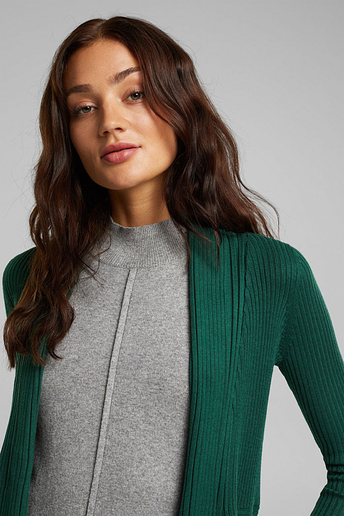 Basic cardigan with a ribbed texture, BOTTLE GREEN, detail image number 5