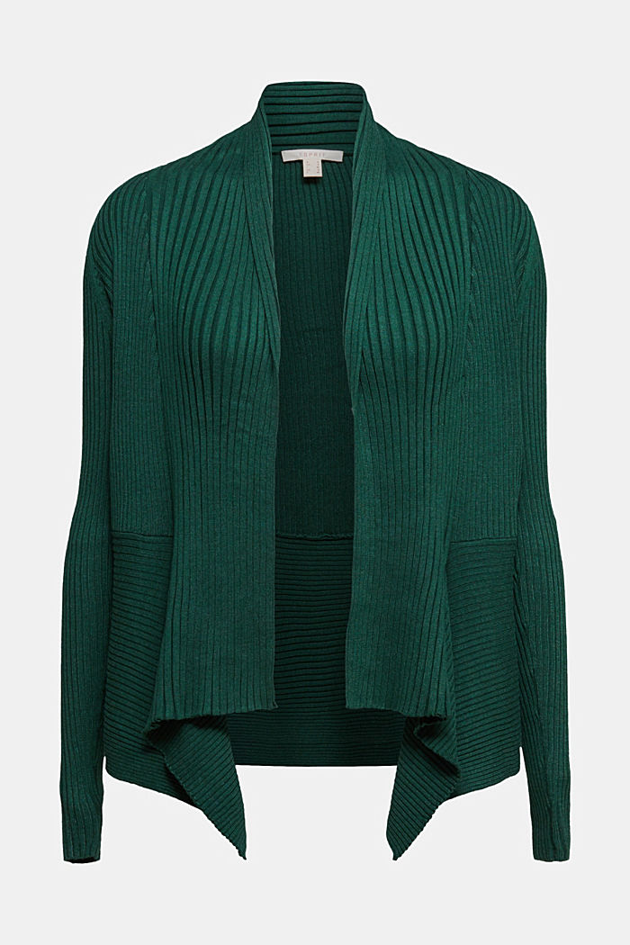 Basic cardigan with a ribbed texture, BOTTLE GREEN, detail image number 6