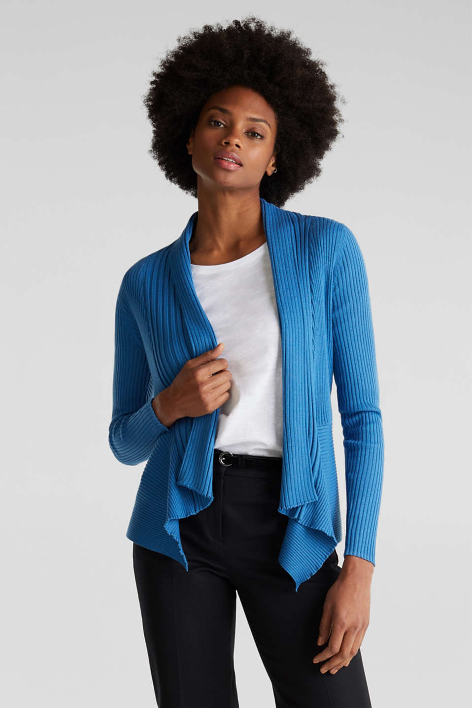 Basic cardigan with a ribbed texture, BRIGHT BLUE, detail image number 0
