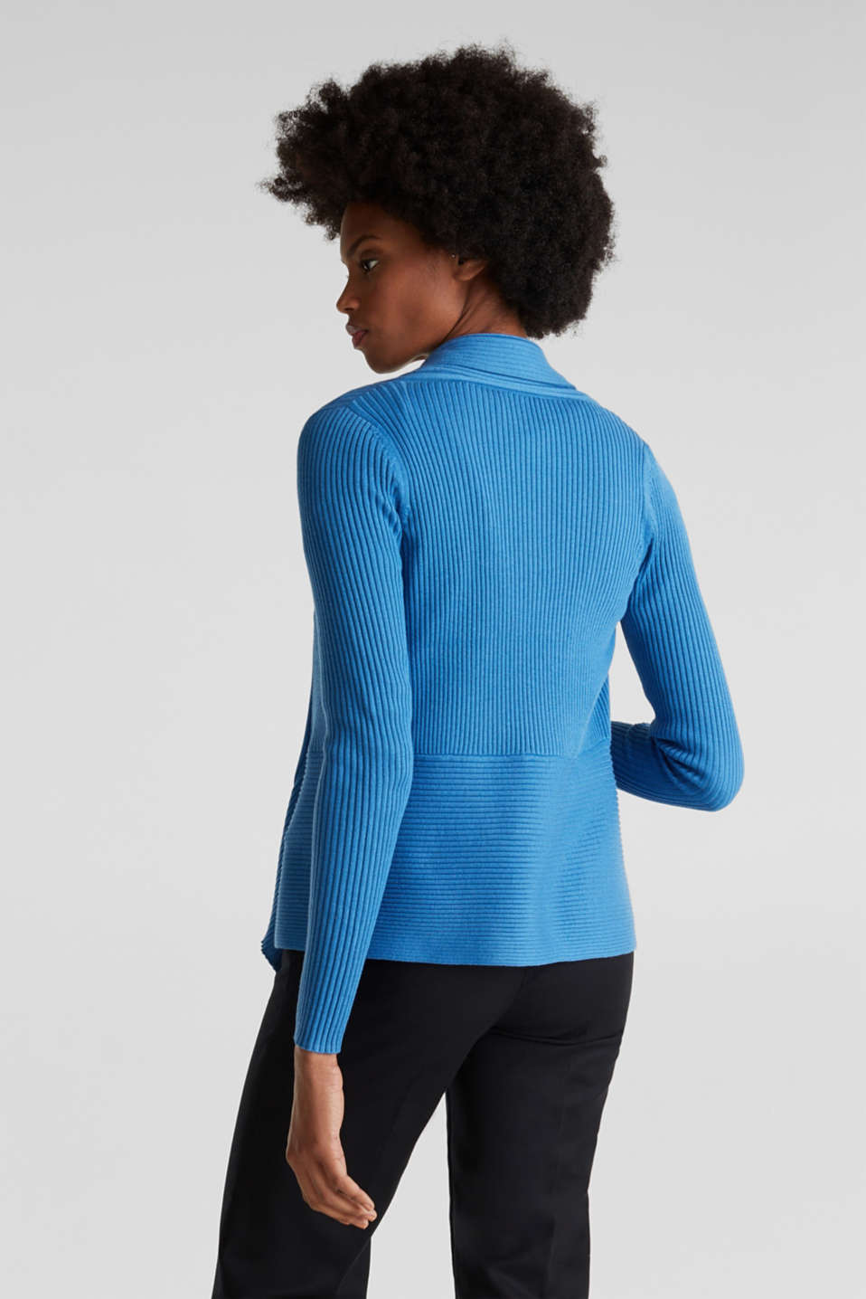 Basic cardigan with a ribbed texture, BRIGHT BLUE, detail image number 3