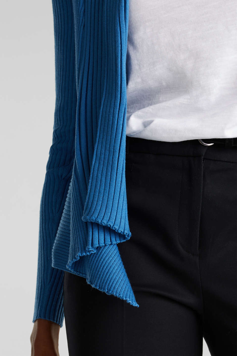 Basic cardigan with a ribbed texture, BRIGHT BLUE, detail image number 2