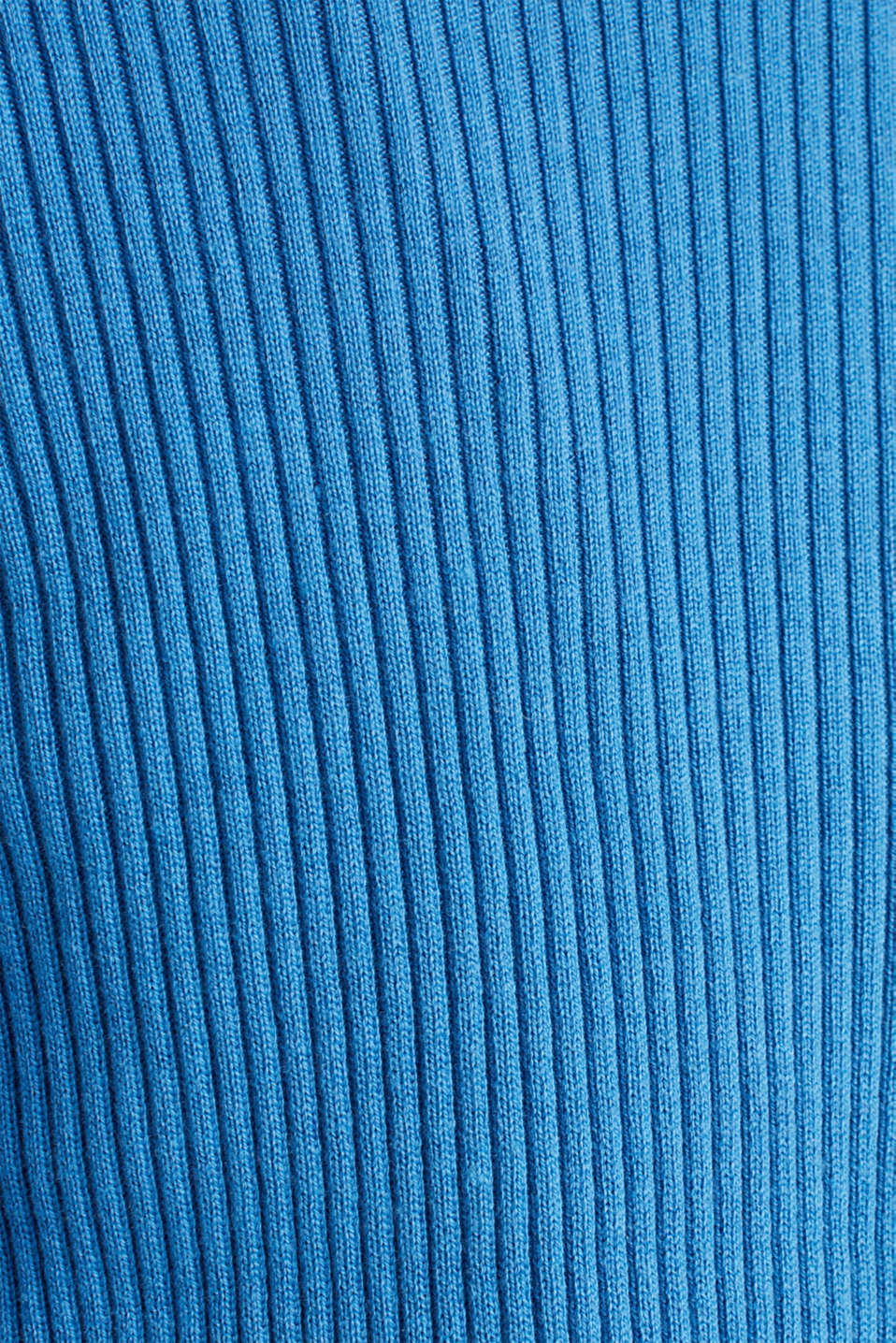 Basic cardigan with a ribbed texture, BRIGHT BLUE, detail image number 4