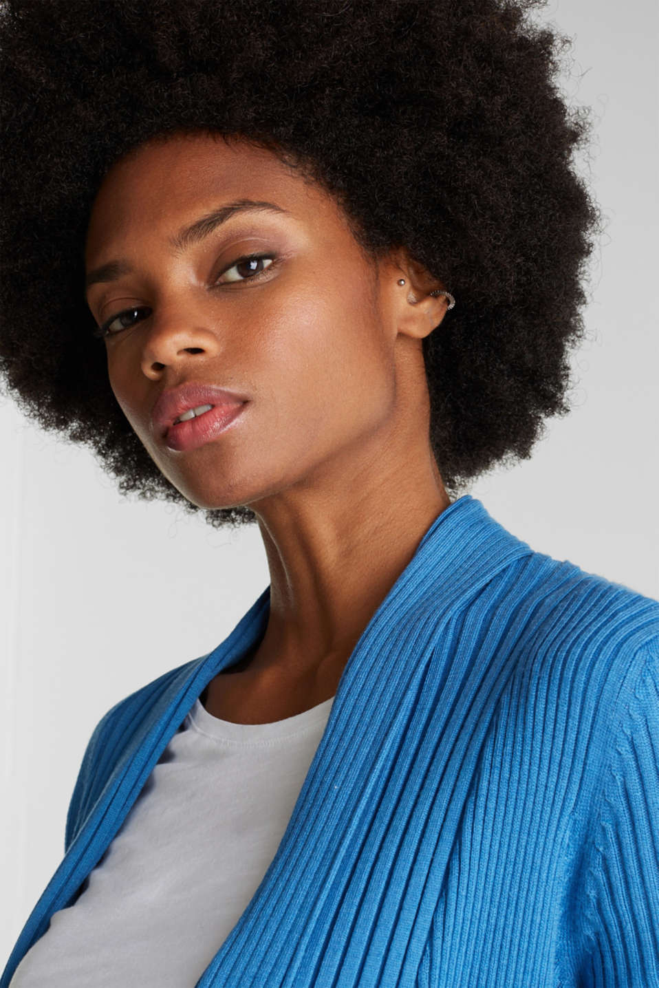 Basic cardigan with a ribbed texture, BRIGHT BLUE, detail image number 5