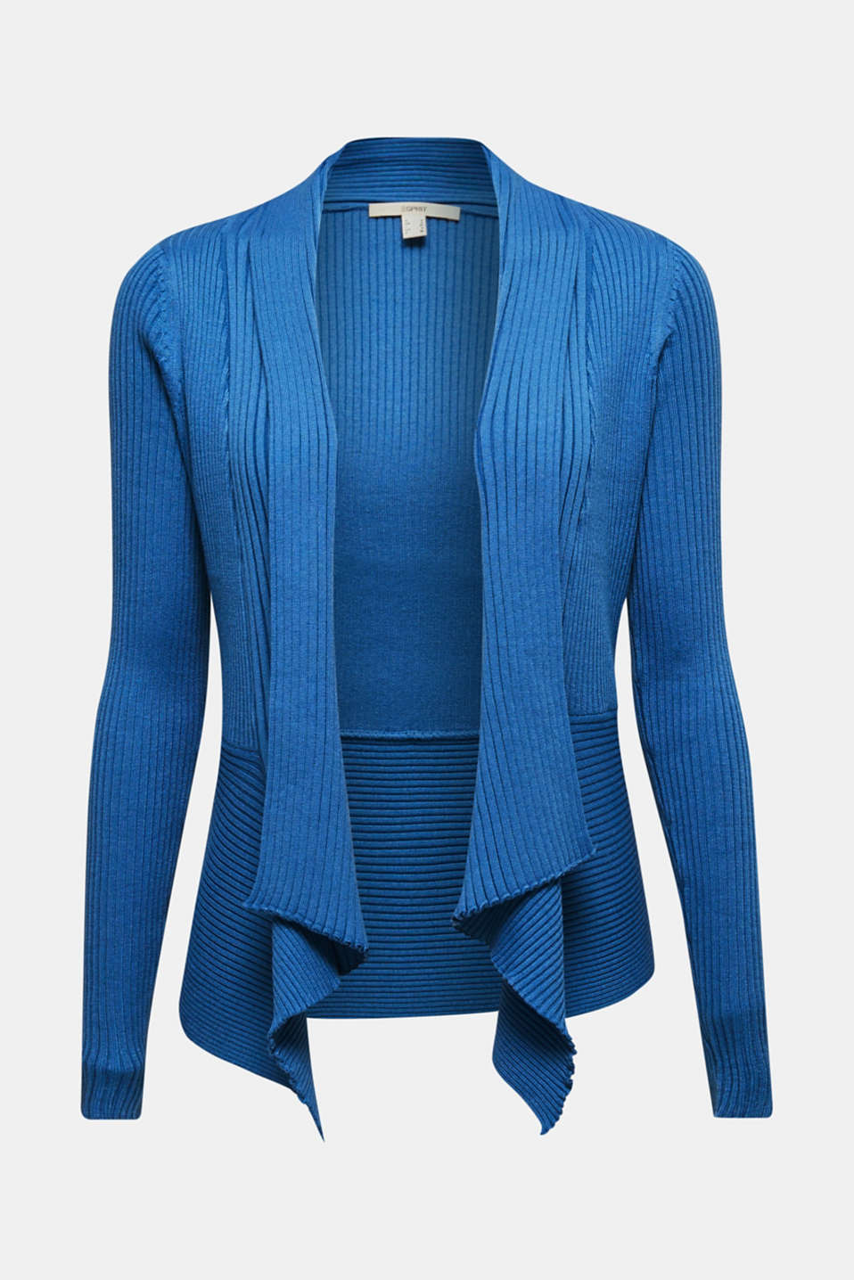 Basic cardigan with a ribbed texture, BRIGHT BLUE, detail image number 6