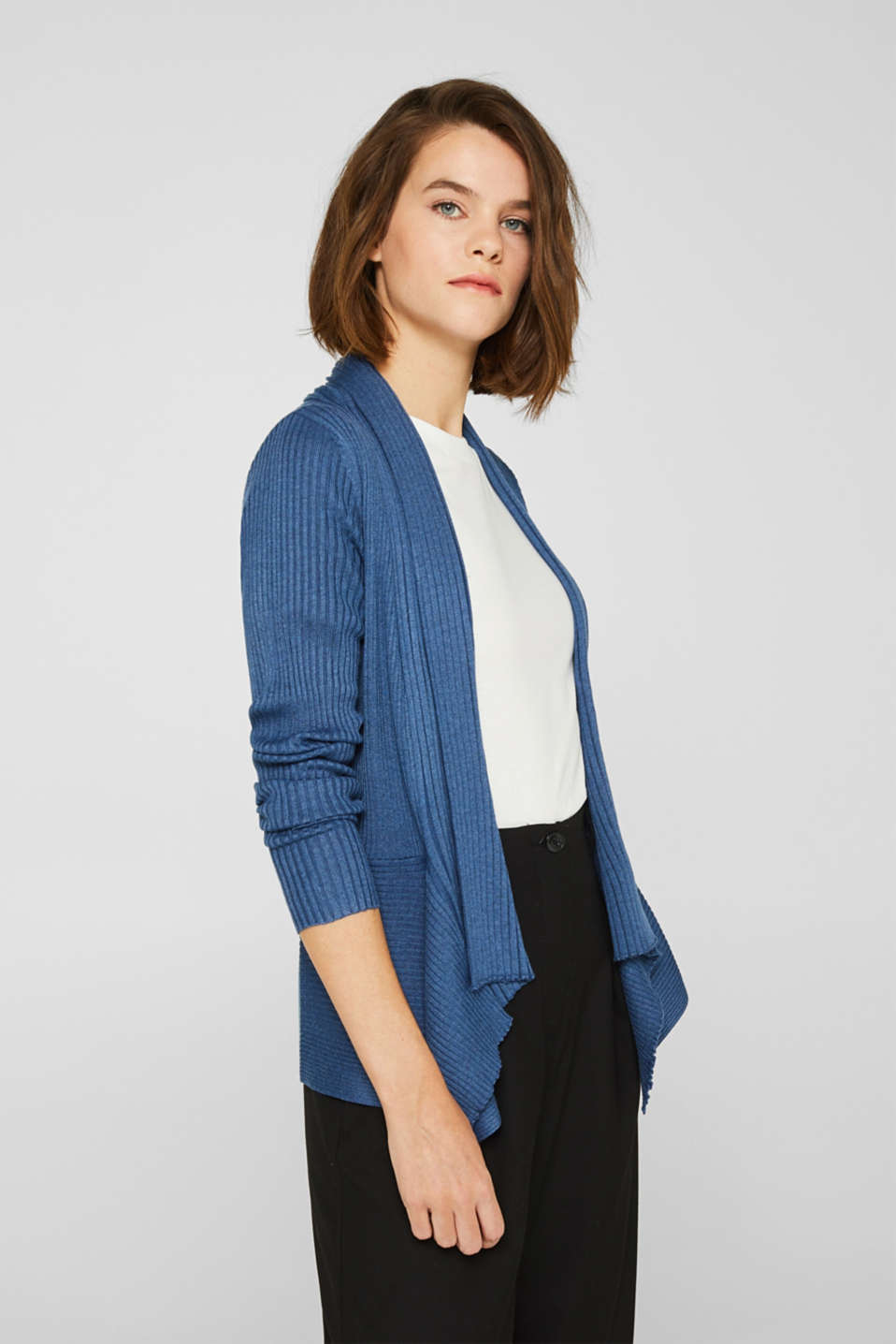 Basic cardigan with a ribbed texture, GREY BLUE 5, detail image number 0
