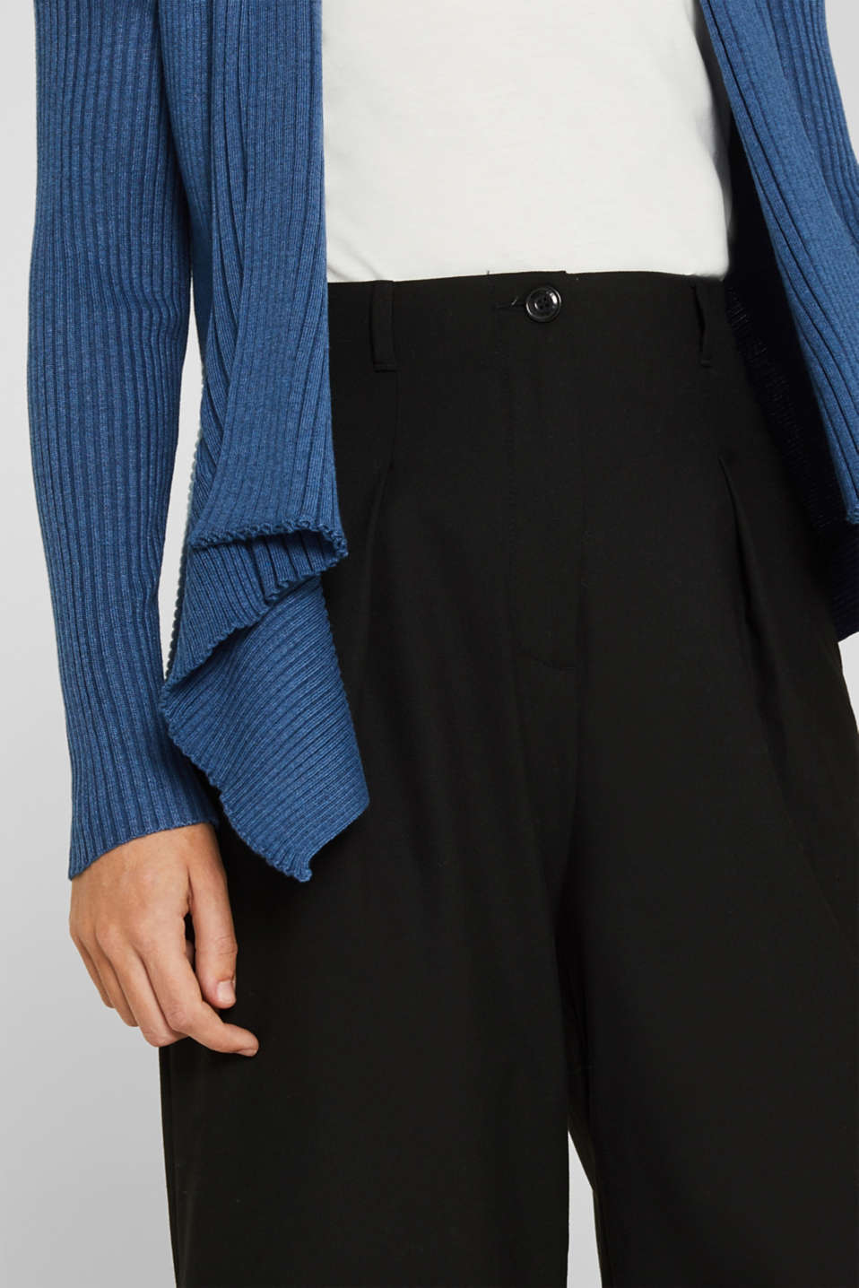 Basic cardigan with a ribbed texture, GREY BLUE 5, detail image number 2