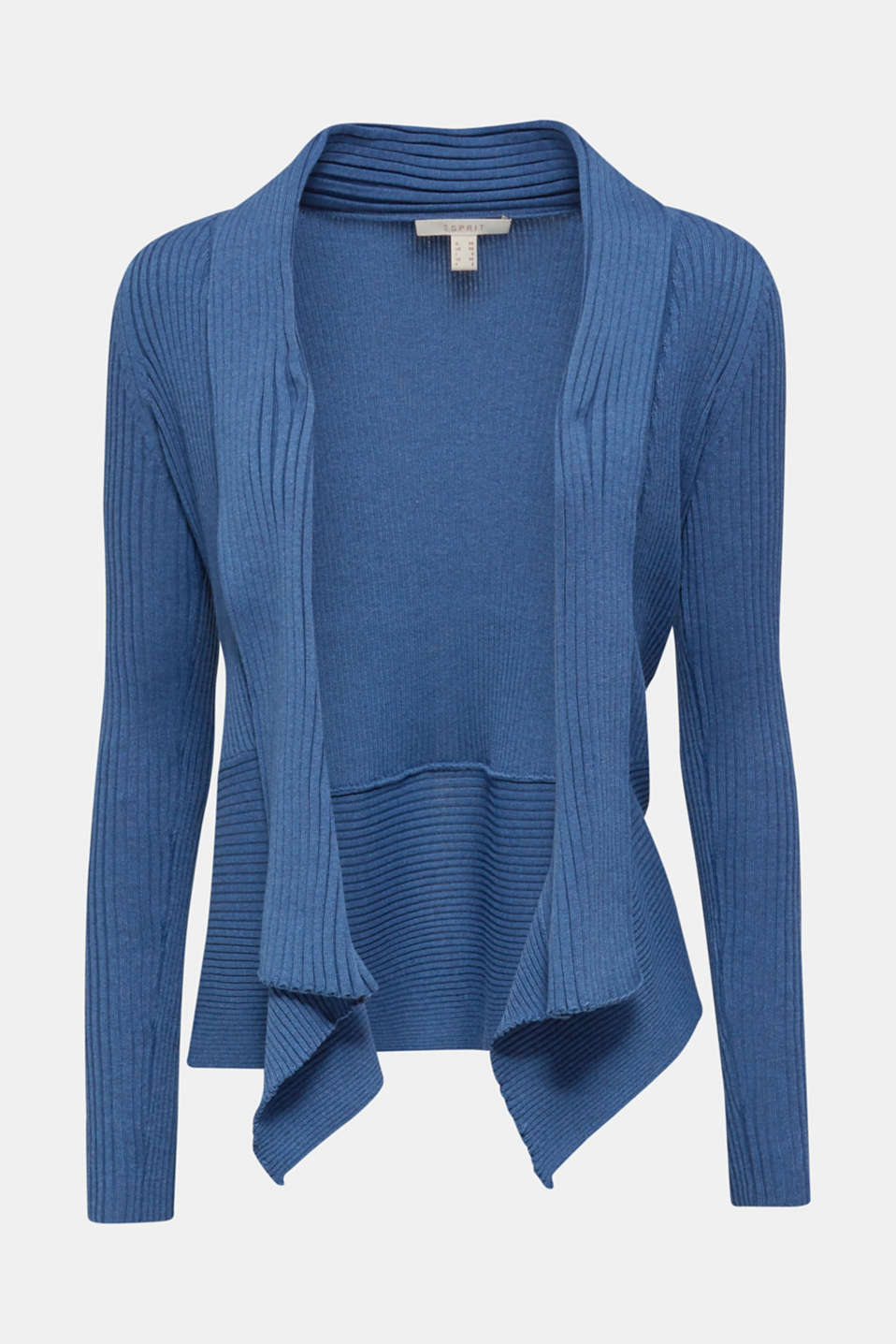 Basic cardigan with a ribbed texture, GREY BLUE 5, detail image number 5