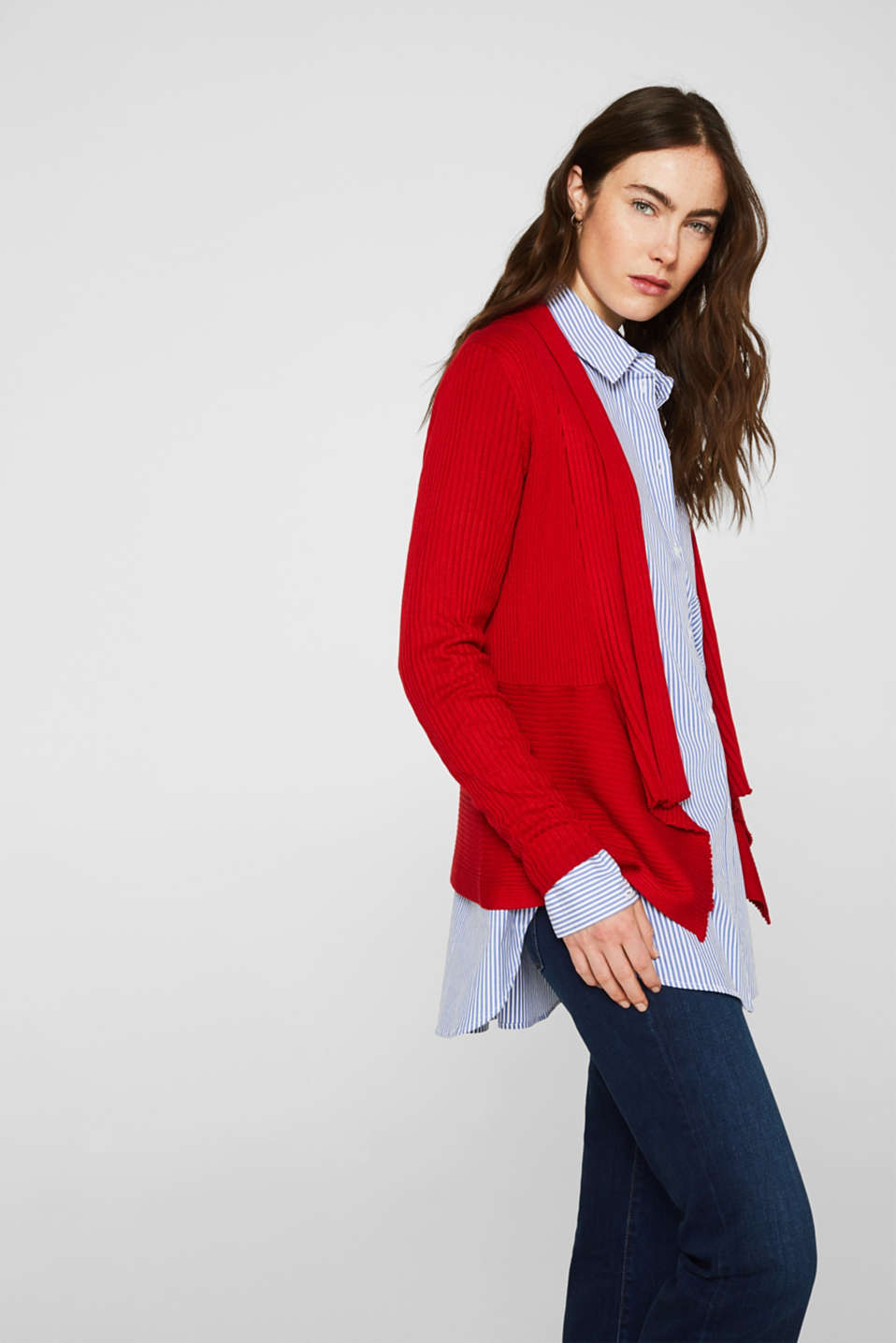 Basic cardigan with a ribbed texture, DARK RED, detail image number 0