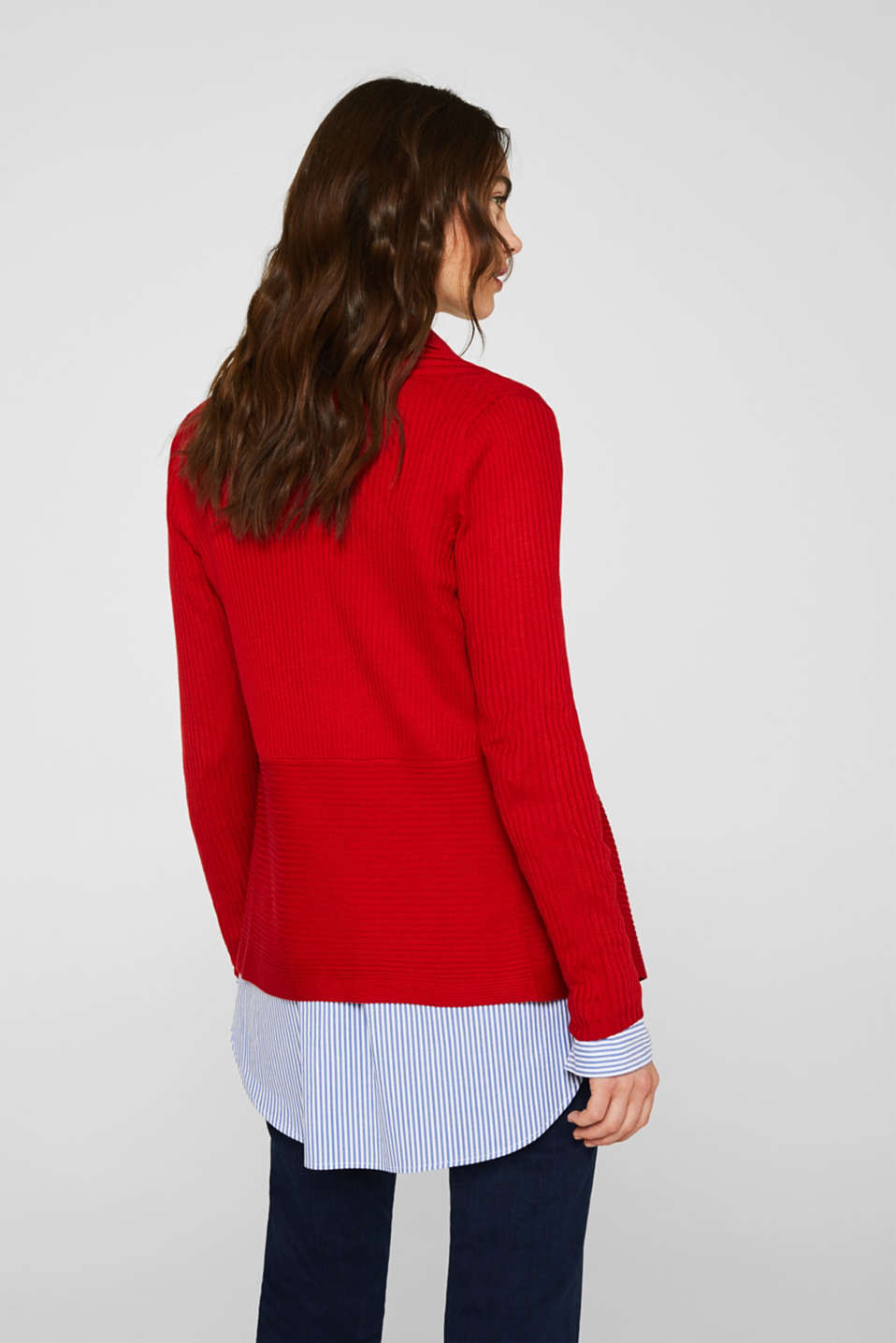 Basic cardigan with a ribbed texture, DARK RED, detail image number 3