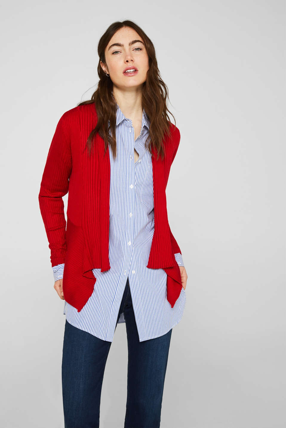Basic cardigan with a ribbed texture, DARK RED, detail image number 5