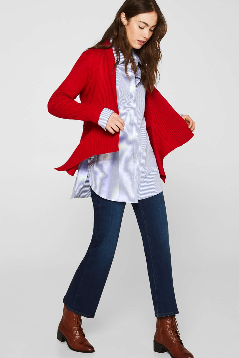 Basic cardigan with a ribbed texture, DARK RED, detail image number 1