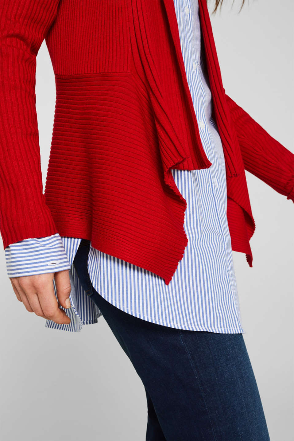 Basic cardigan with a ribbed texture, DARK RED, detail image number 2