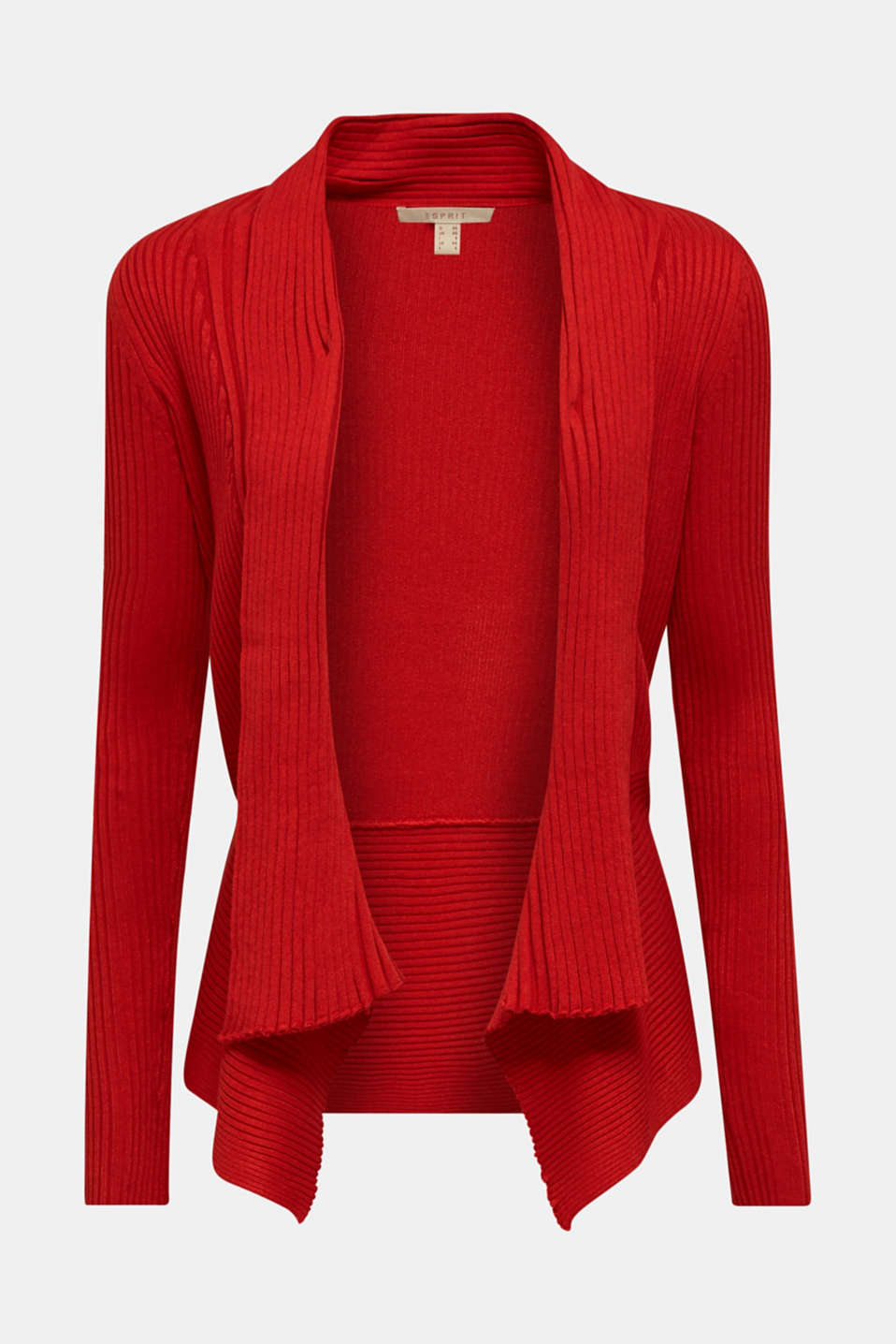 Basic cardigan with a ribbed texture, DARK RED, detail image number 7