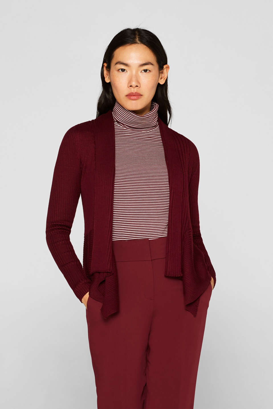 Esprit - Basic cardigan with a ribbed texture