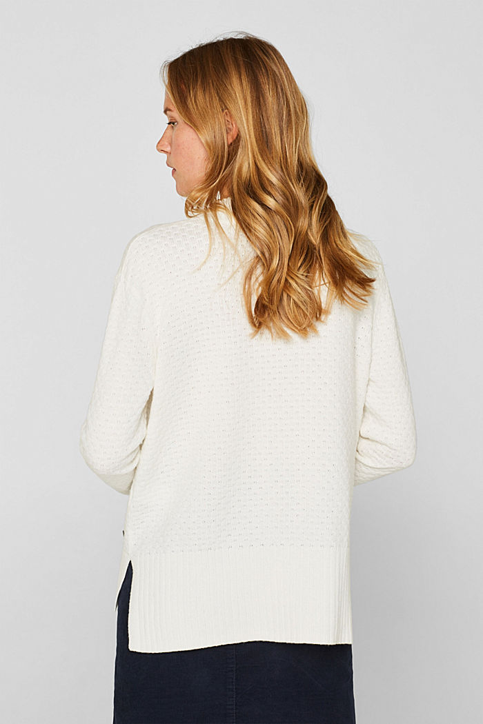With wool: Jumper with a textured pattern, OFF WHITE, detail image number 3