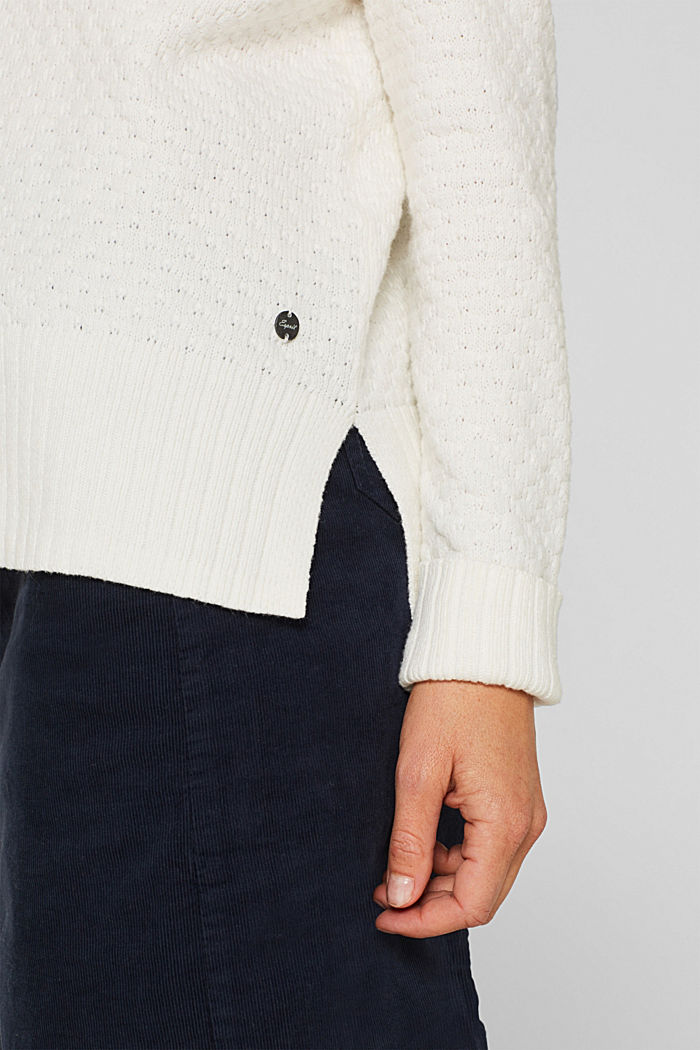 With wool: Jumper with a textured pattern, OFF WHITE, detail image number 2