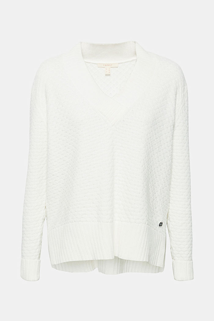 With wool: Jumper with a textured pattern, OFF WHITE, detail image number 7