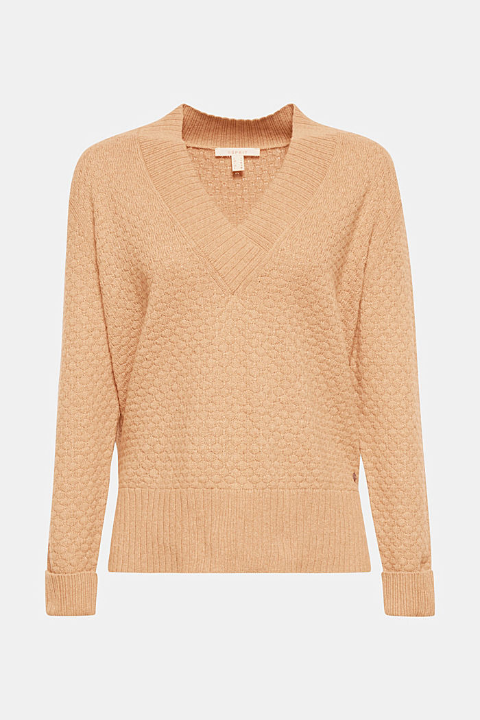 With wool: Jumper with a textured pattern, CAMEL, overview