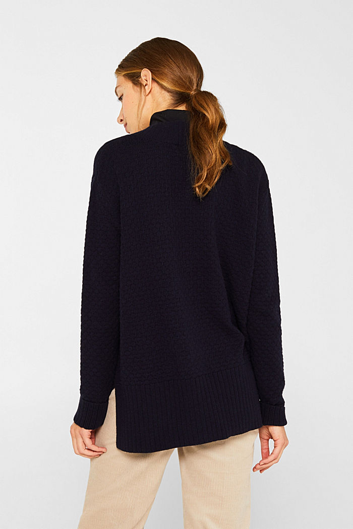 Mit Wolle: Pullover mit Struktur-Muster, NAVY, detail image number 3