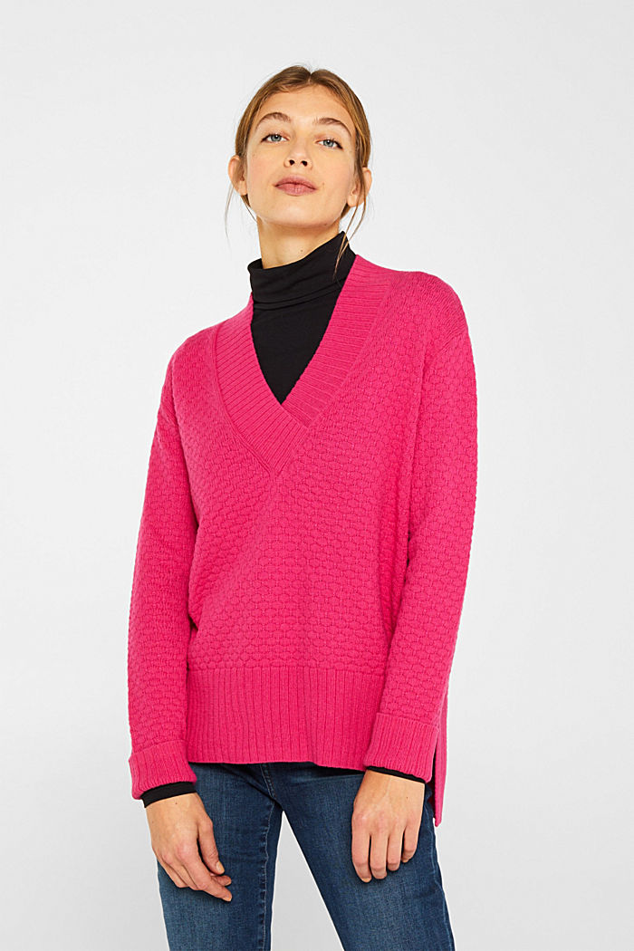 With wool: Jumper with a textured pattern, PINK FUCHSIA, detail image number 0