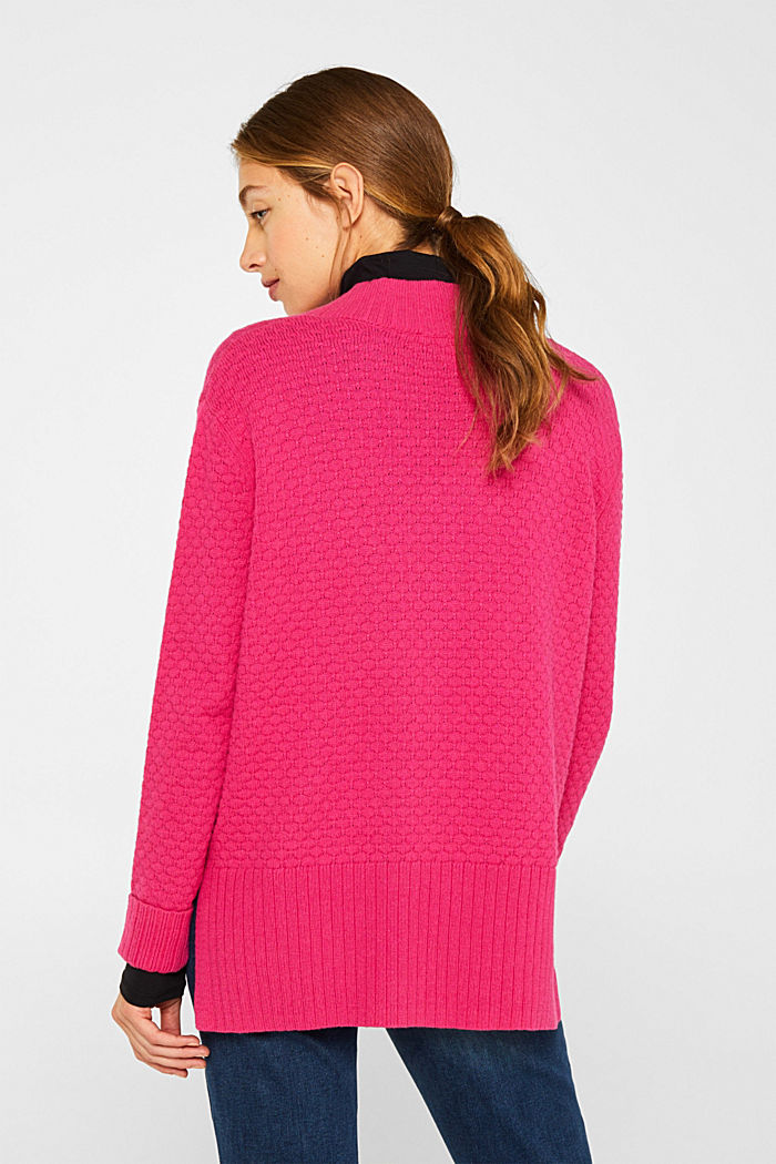 With wool: Jumper with a textured pattern, PINK FUCHSIA, detail image number 3