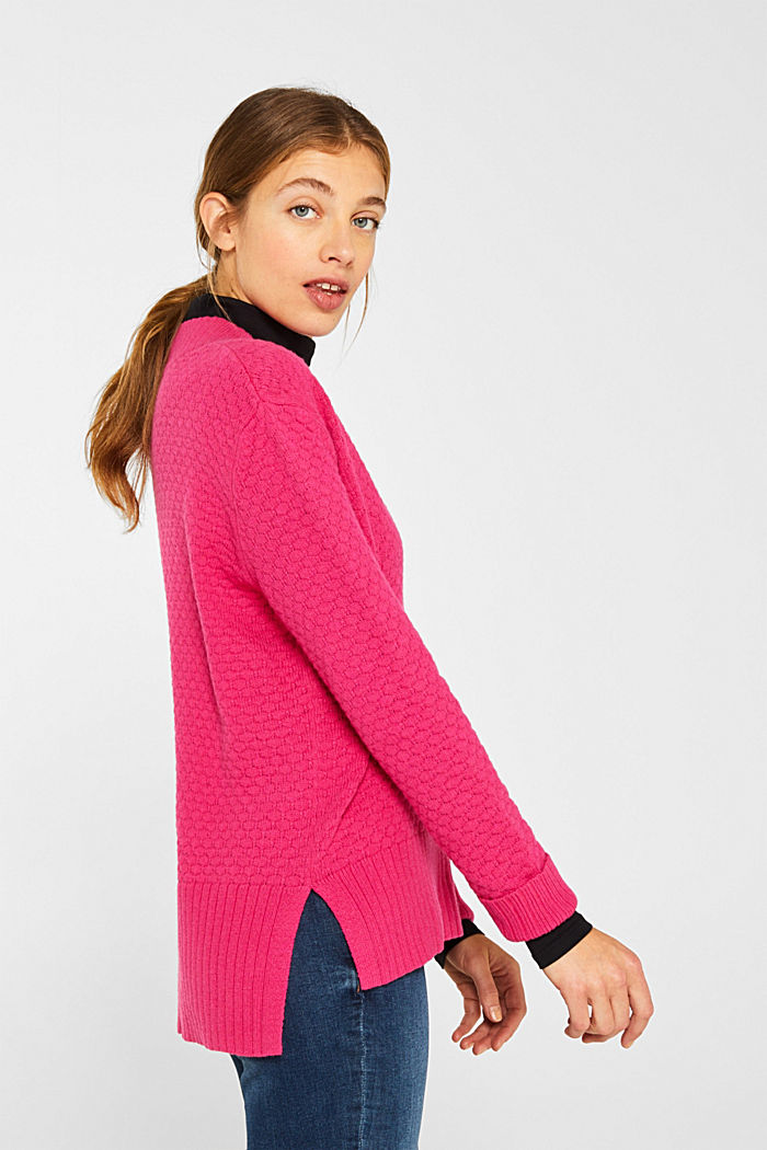 With wool: Jumper with a textured pattern, PINK FUCHSIA, detail image number 5