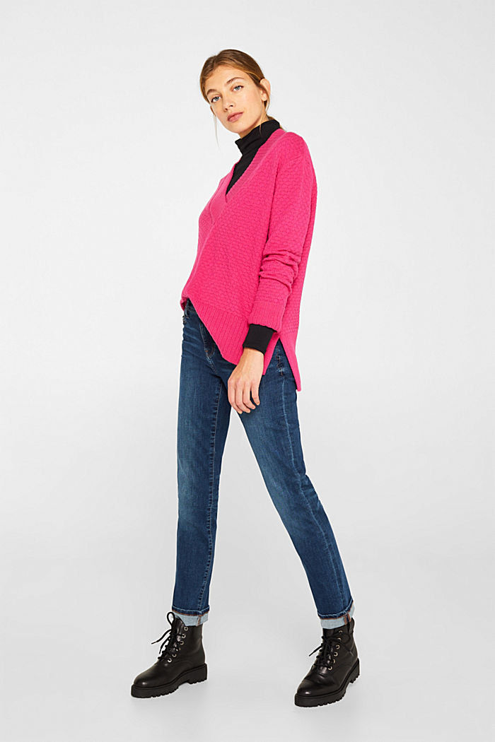 With wool: Jumper with a textured pattern, PINK FUCHSIA, detail image number 6