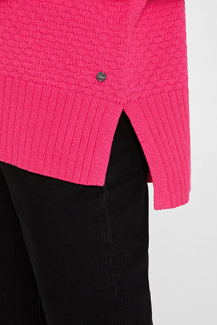 With wool: Jumper with a textured pattern, PINK FUCHSIA, detail image number 2