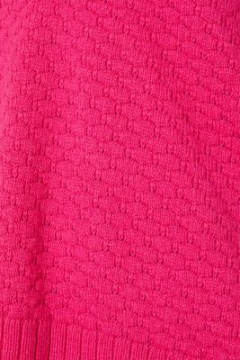 With wool: Jumper with a textured pattern, PINK FUCHSIA, detail