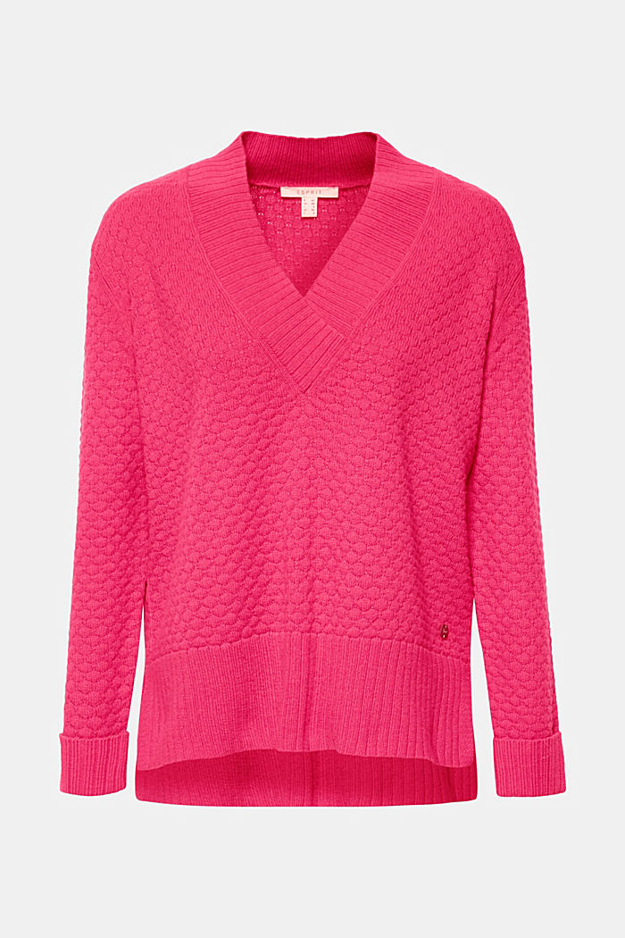 With wool: Jumper with a textured pattern, PINK FUCHSIA, detail image number 7