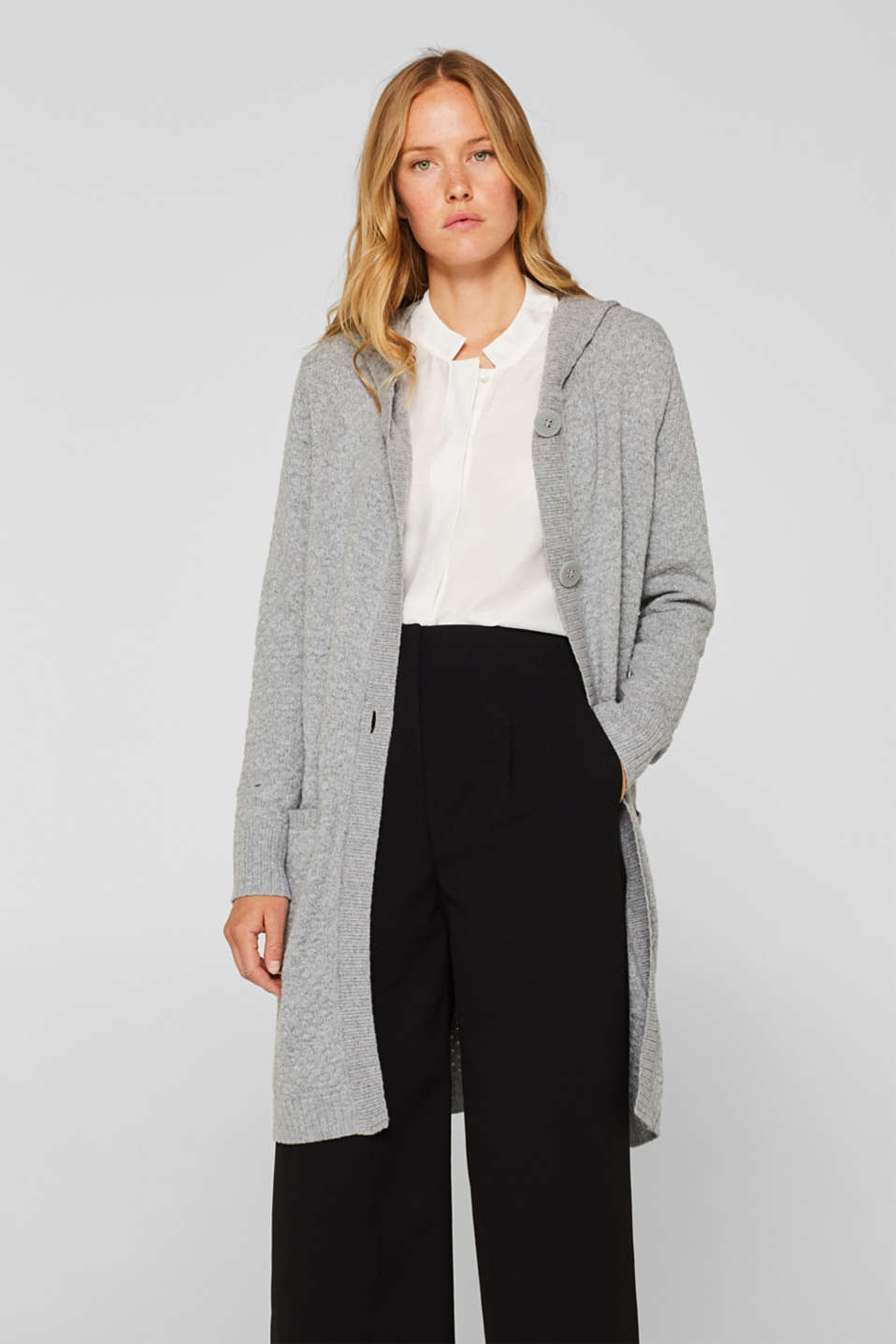 Esprit - Hooded coat in a textured knit, made with wool
