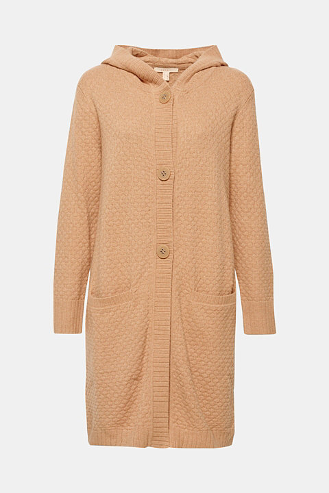 Hooded coat in a textured knit, made with wool