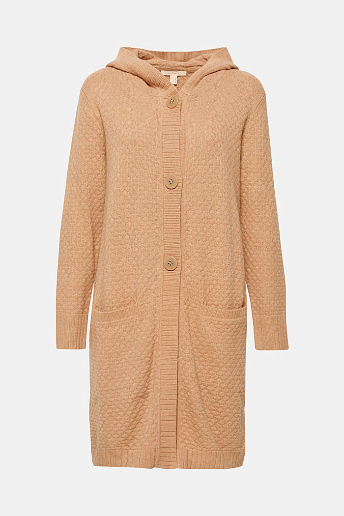 Hooded coat in a textured knit, made with wool, CAMEL, detail image number 0