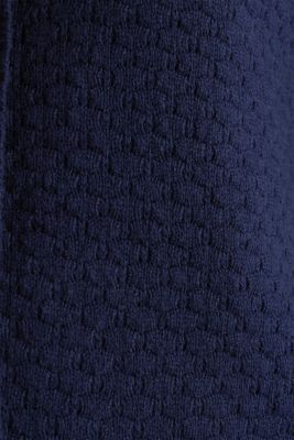 Hooded coat in a textured knit, made with wool, NAVY, detail