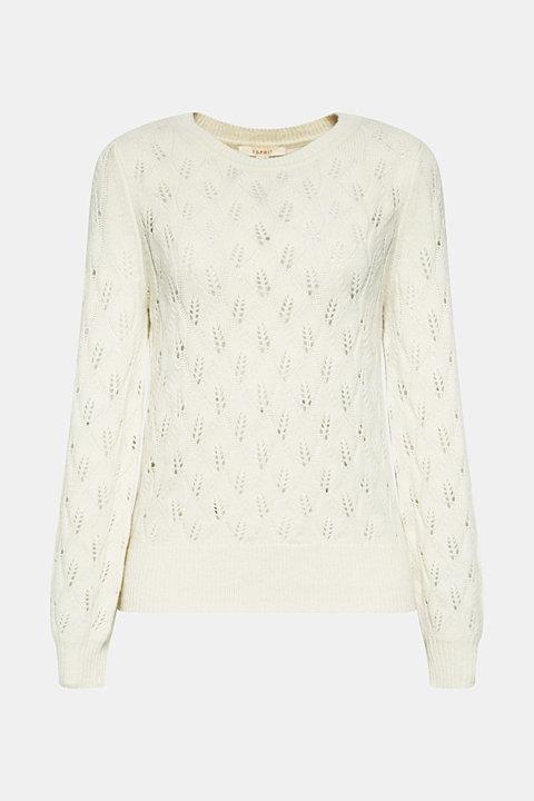 Wool blend: Jumper with openwork pattern