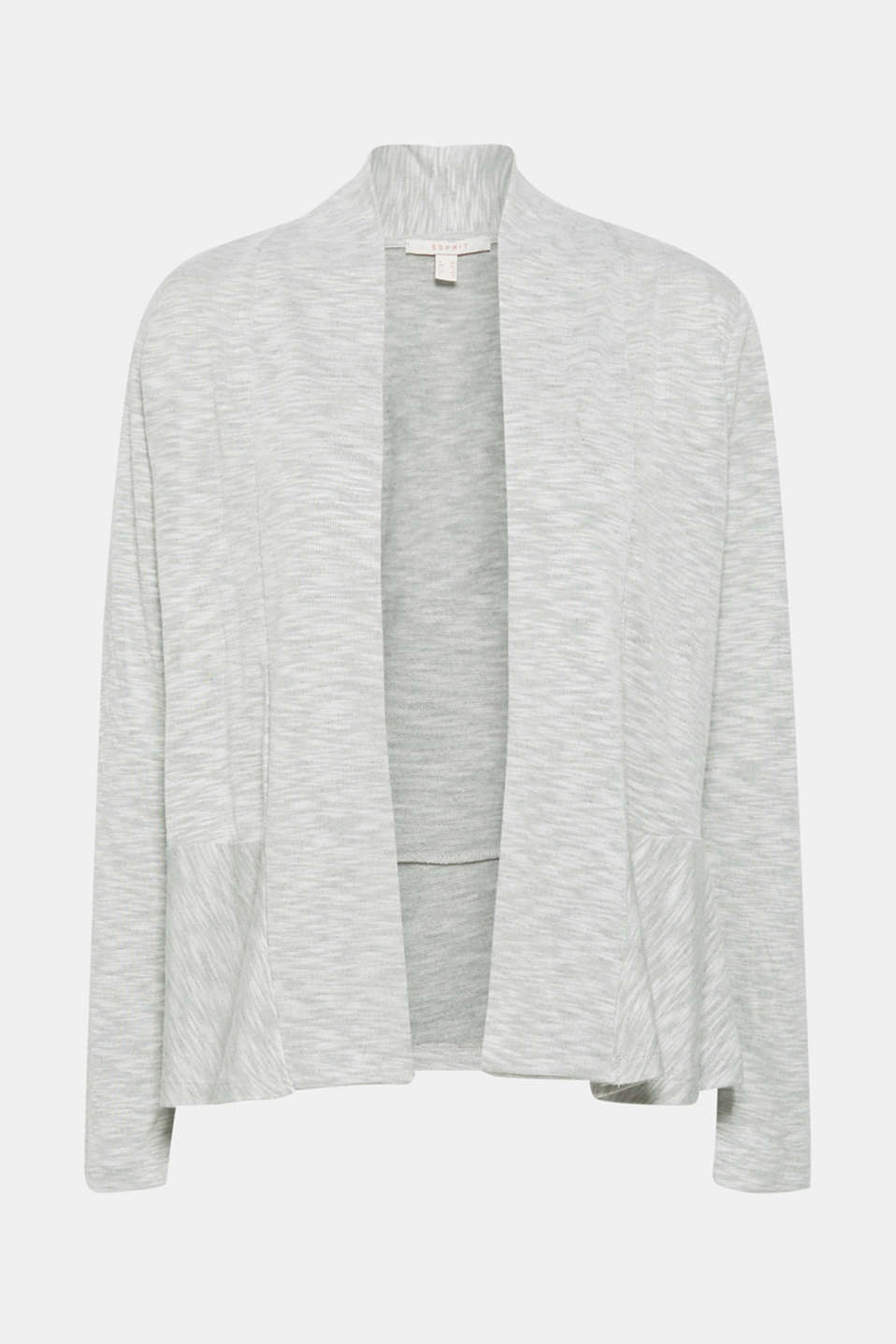 Open cardigan with a melange texture, LIGHT GREY 5, detail image number 6