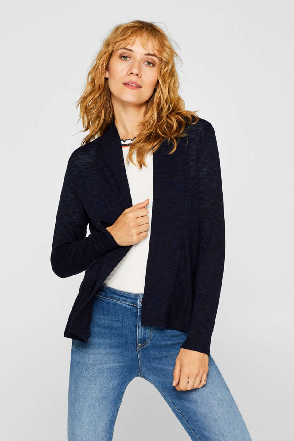 Esprit - Open cardigan with a melange texture