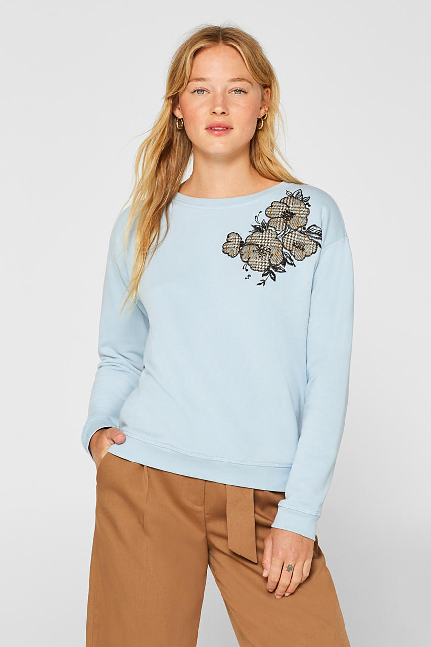 Sweatshirt with appliquéd flowers