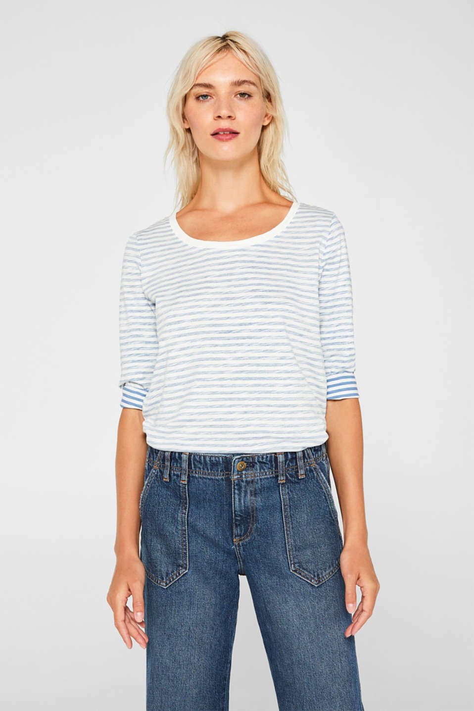Esprit - Long sleeve top with an inside-out print, cotton