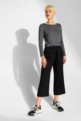 Long sleeve slub top with organic cotton, BLACK, detail