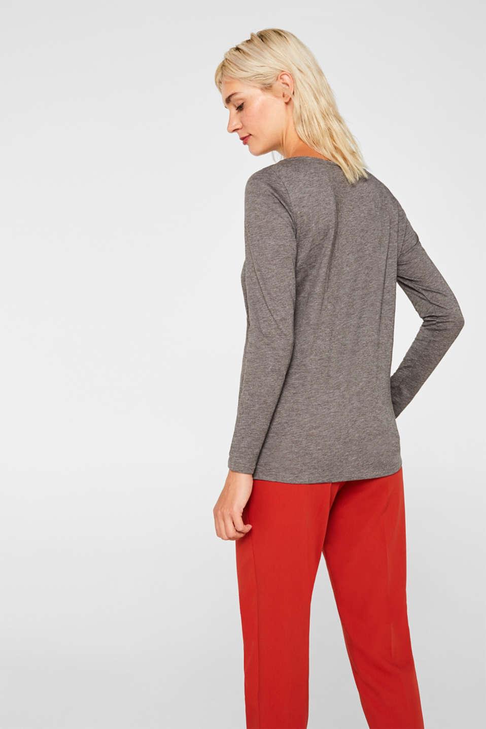 Long sleeve slub top with organic cotton, DARK GREY 4, detail image number 3