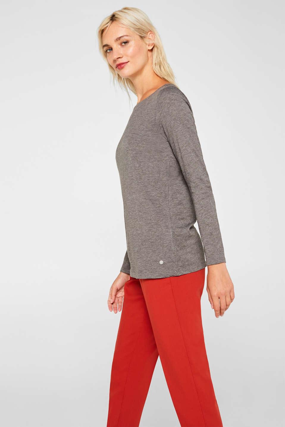 Long sleeve slub top with organic cotton, DARK GREY 4, detail image number 5